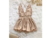 Size 8/S silk feel champagne playsuit
