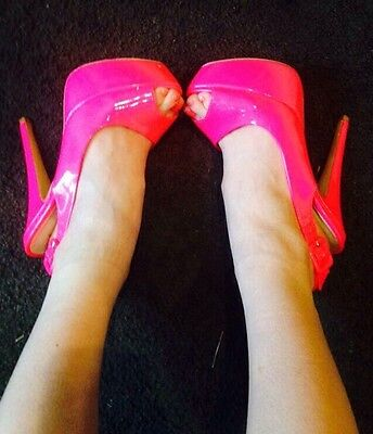 FLURO PINK High Heels Chunky Wedges Buckle Goth Hippy Boho Rave Emo Club Punk ](Fluro Pink Shoes)