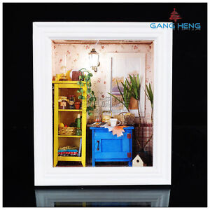 3D-wood-frame-LED-Light-dollhouse-room-miniatures-kit-warm-dawn-with-cover