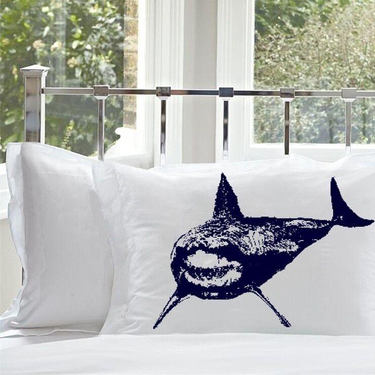 2 Navy Blue Shark bedding nautical pillowcase cover