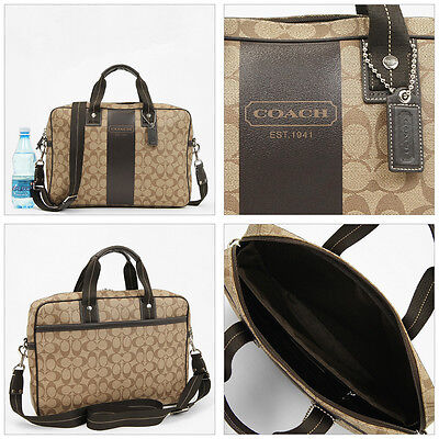 Buy coach briefcases. - Coach 70592 Heritage Stripe Briefcase Shoulder Bag Men  - Ship Worldwide