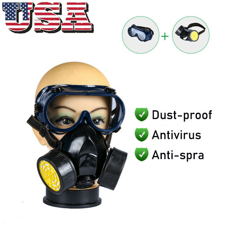 Emergency Gas Mask Goggles Survival Safety Respiratory Dual Protection Filter US