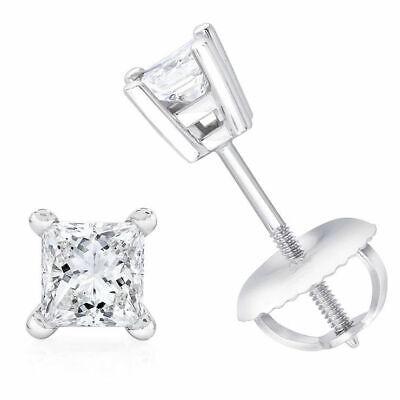 Princess Cut Genuine Diamond Basket Stud Earrings 14k White Gold 4 Prong