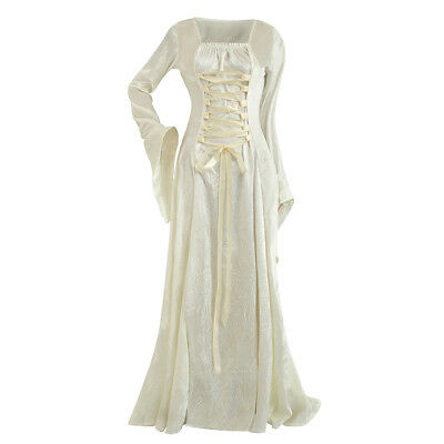 Womens Renaissance Gown Costume Medieval Small Dress White Ivory Corset NEW](White Medieval Gown)