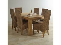 Mango wood table and four chairs