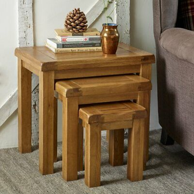 100% Solid oak without veneer nest of 3 tables rustic solid oak nest of tables