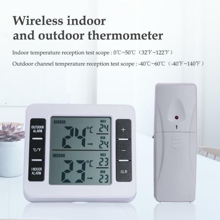 Wireless Thermometer with Indoor/Outdoor Temperature&Humidity Sensor LCD Display