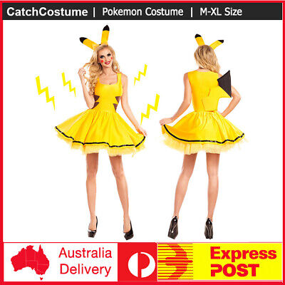 Pokemon Pikachu Womens Halloween Dress Costume Fancy Cosplay Yellow Cartoon
