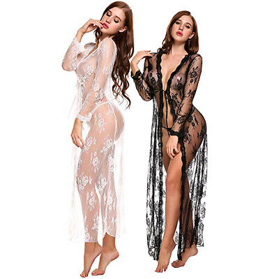 Kimono Dressing Gowns - Sexy Lingerie For Women Long Lace Dress Sheer Gown See Through Kimono Robe US