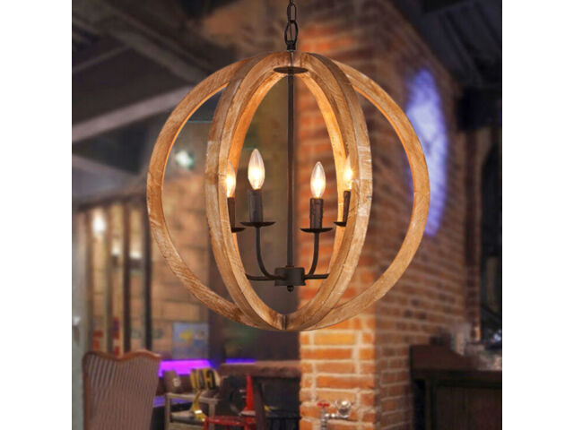 Wood Globe Orb 4-Light Chandelier E12 Candle Style