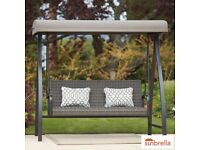 New Agio Eastport Woven Swing with Canopy and Accent Pillows Free Delivery and Assembly