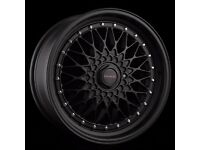 "Dare Rs 15"" 4X100 GOLF MK2/BMW E30 Matt Black ALLOY WHEELS"