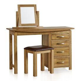 Solid Oak Dressing Table Set