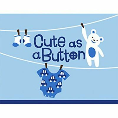 Cute as a Button Baby Shower Boy Hallmark Plates Napkins Invites Banners r2-3d - Cute As A Button Invitations