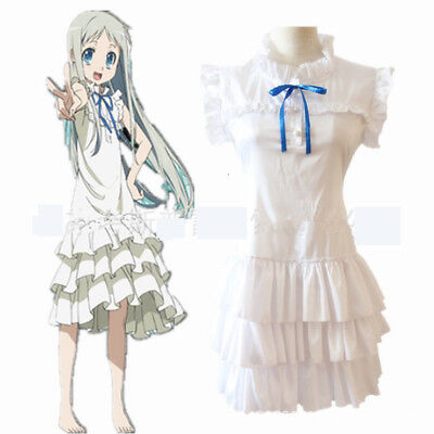 Anime Anohana Meiko Menma Honma Cosplay Frauen Mädchen Schöne Neue Kleid Kostüm (Anohana Cosplay Kostüm)