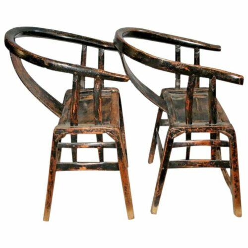 Chinese Antique Yoke Armed Horseshoe Chairs Pair Handmade forged iron supports