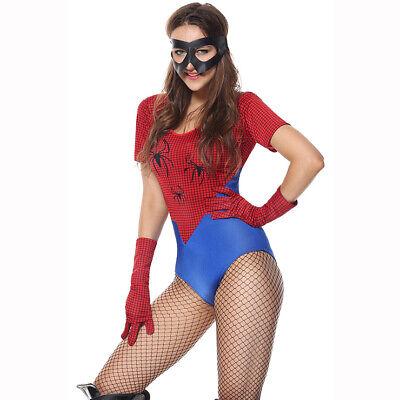 Sexy Damen Kostüm Spinnenfrau Body Gr. S/M Comic Superheldin Hero Karneval