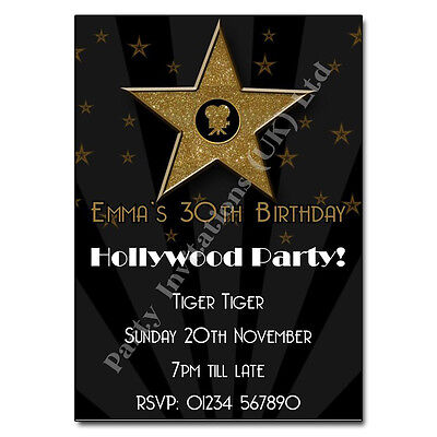 Hollywood Theme Invitation (Hollywood Themed Personalised Birthday Party)