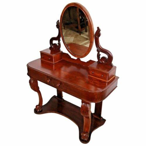 Gorgeous Art Nouveau Antique Vanity Adjustable mirror brass clipsThree drawers