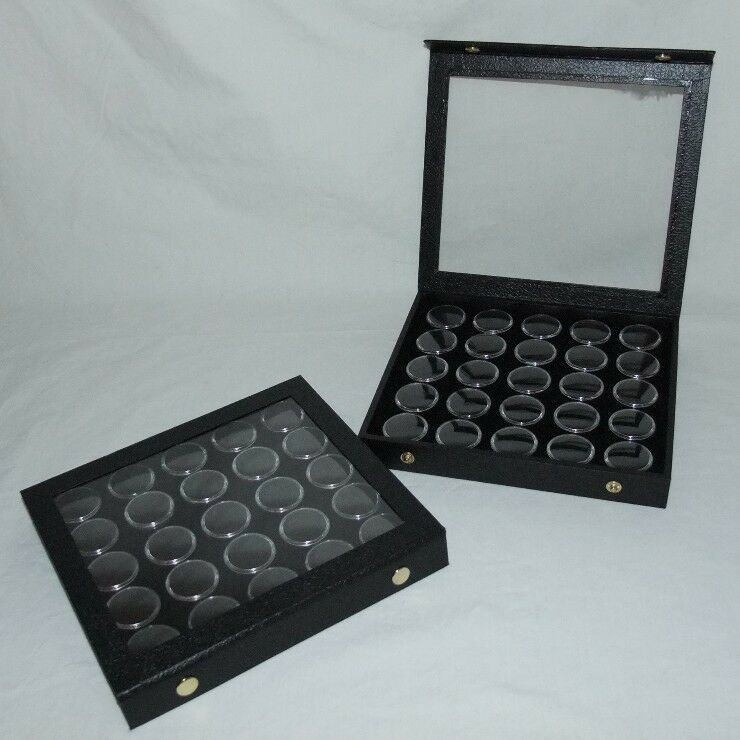 2 Pack Gem Storage Attached Top Cases 25 Jars Black Foam