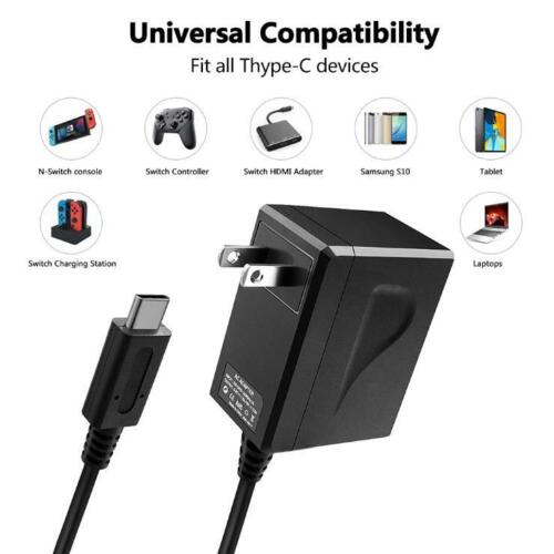 For Nintendo Switch AC Power Supply Fast Home Wall Travel Charger Cable 15V 2.6A