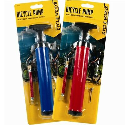 4pc Bicycle Hand Pump With Adapters Bike Cycling Tyre Air Inflator Convert Ball