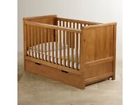 New unused solid oak cot bed with mattress and drawer