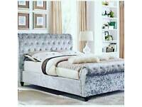 New Stylish upholstered sleigh bed all colours