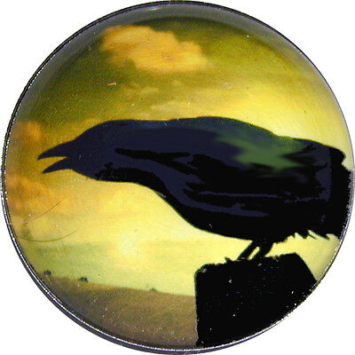 1 inch  Halloween Crystal Dome Button Raven at Sunset - HW2-02 FREE US SHIPPING - Halloween Sunset
