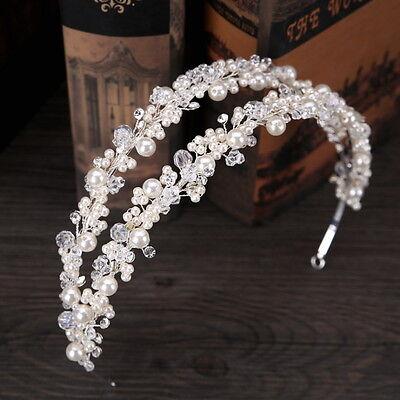 Pearl Crystal Beads Wedding Bridal Pageant Prom Party Crystal Head band Tiara - Tiara Head Band