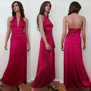 Black-Brown-Burgundy-Pink-Formal-Evening-Maxi-Long-Dress-Gown-Bridesmaid-S-M-L