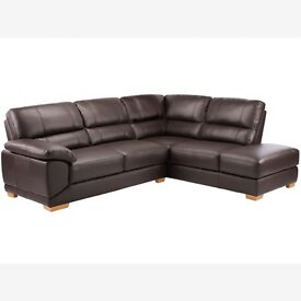 BRAND NEW Clarence Corner Sofa Left Hand, Arm Chair & Foot Rest - Brown Leather