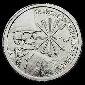 1-OZ-SILVER-COIN-DEBT-AND-DEATH-SBSS-SILVER-BULLET-SILVER-SHIELD-999-SILVER