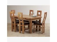 Real Oak Dining and Side Cabinet Set