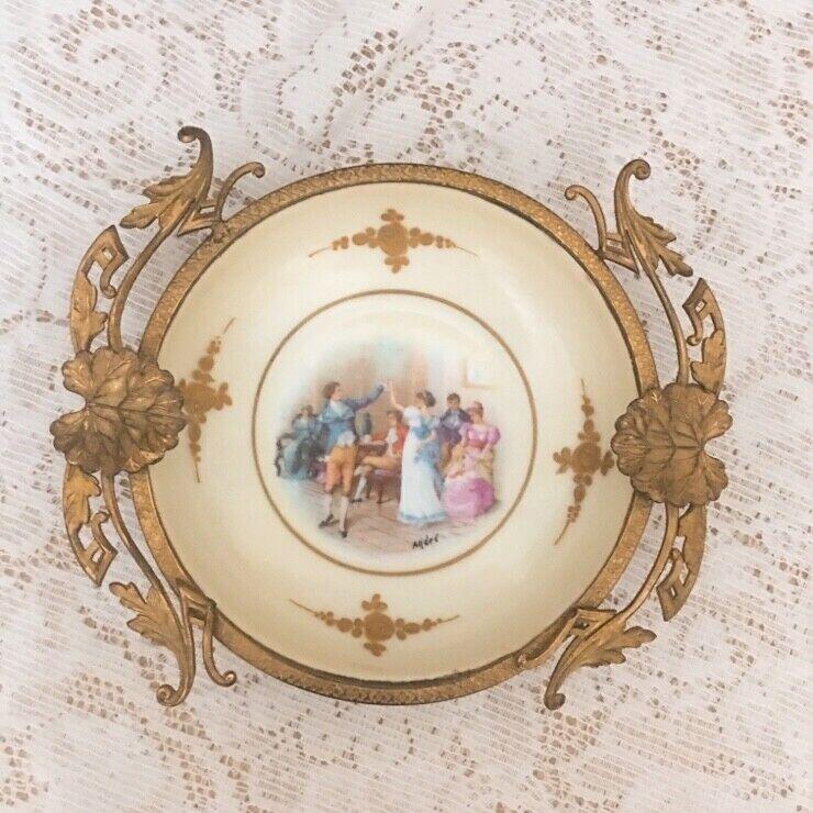 Antique Rare Signed France Limoges Brass & Porcelain Dish Bowl