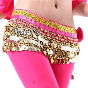 Belly Dance Costume, Velvet Hip Scarf belt with Gold Coins 9 Color choices