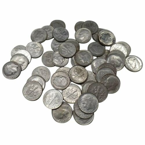 50 Roosevelt Dimes ONE ROLL , 90% Silver Coin Lot , Circulated , Choose How Many