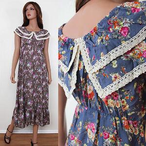 New-VTG-70s-Maxi-Floral-Crochet-Ruffle-Hem-Empire-Blue-Brown-Long-Dress-S-M-L
