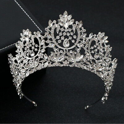 8.5cm High Luxury Crystal Tiara Crown Wedding Bridal Party Pageant Prom 2 Colors
