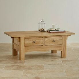 Solid Oak 2 Drawer Coffee Table