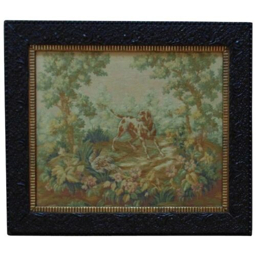 Antique 19c English Baroque Tapestry w/ Dog & Pheasant Animals Hunting Framed