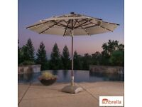 Activa 11ft (3.35m) Aluminium 40 Solar LED Light Market Umbrella With Tilt Mechanism RRp £299
