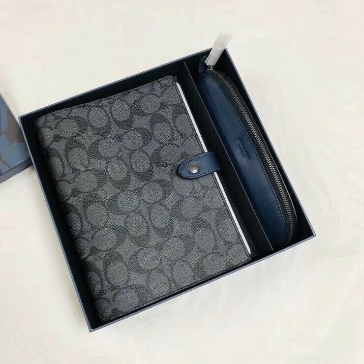 COACH Boxed Notebook Black Signature Canvas & Leather Pencil Case Gift Set 79846