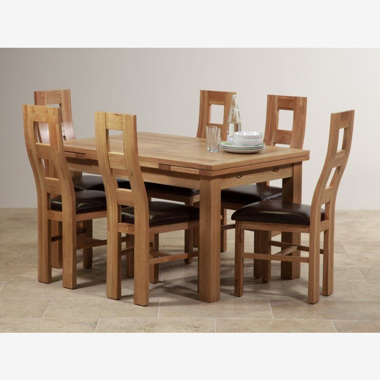 Oak furniture land dorset natural solid oak extending for Dining table with 6 chairs cheap