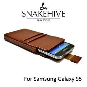SNAKEHIVE® Genuine Real Leather Pouch Case Cover for Samsung Galaxy