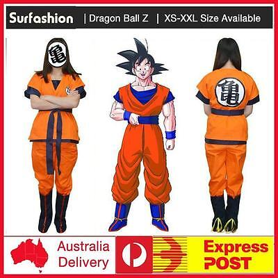 Party Dragon Ball Z GoKu Express Post Cosplay Costume Full Size + Gold/Black Wig - Express Post Costumes