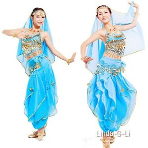 Belly Dance Costume Top+ Gold Wavy Pants Bloomers + Hip Scarf Set Wrap Skirt US
