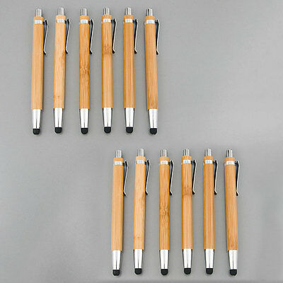 12X Cell Mobile Phone Tablet  Bamboo 2 in 1  Stylus Pen Ball Point Pen 12 pieces (Mobile Stylus Pen)