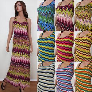 Aztec-Print-Summer-Beach-Tank-Top-Racer-Back-Maxi-Long-Sun-Dress-USA-S-M-L-XL