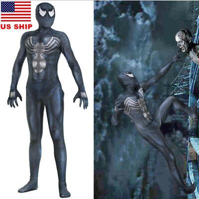 US! Venom Symbiote Unisex Black Spiderman Halloween Zentai Cosplay Costume Lycra - Spiderman Venom Halloween Costume